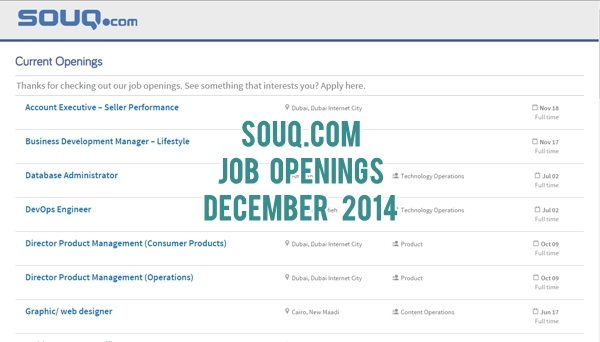 Souq.com UAE Job Openings December 2014