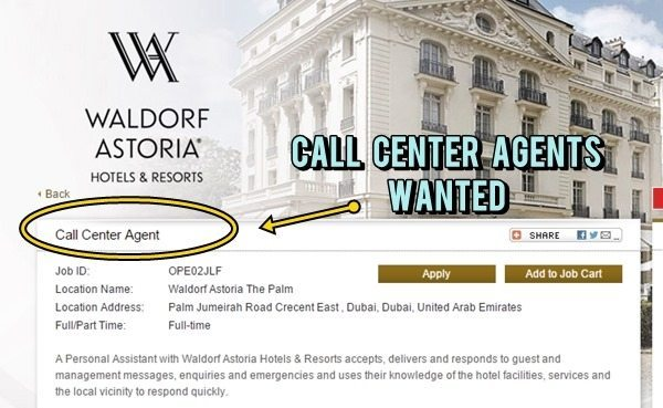 Call Center Agent Job by Waldorf Astoria Hotels & Resorts