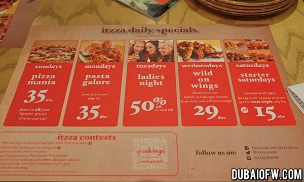 itzza pizza daily specials
