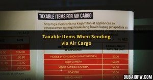 taxable items via air cargo