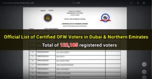 filipino registered voters dubai