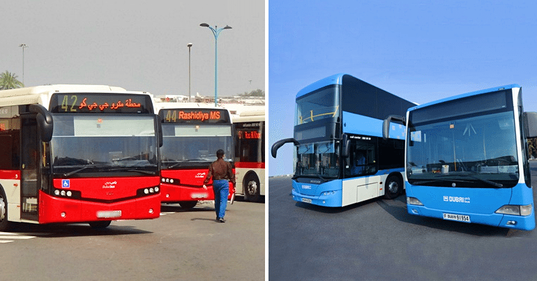 red color dubai bus to blue color