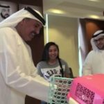 Dubai Civil Defence gives Angelie a suprise gift. Image Credit: @DCDDubai on Twitter