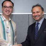 Philippine Sec. Alan Peter Cayetano (left) meets UAE Minister Dr. Anwar bin Mohammed Gargash (right). Image Credit: WAM News Agency