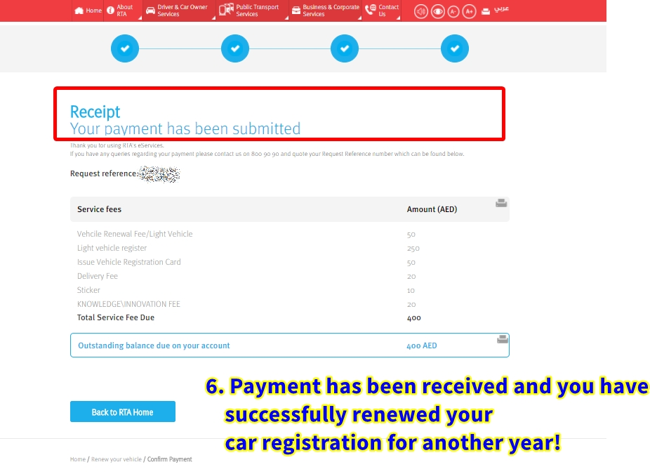 dubai car registration renewal online
