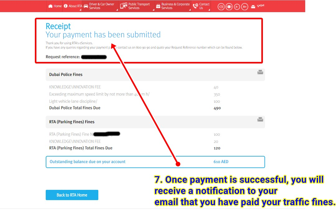 how to pay rta police fines online