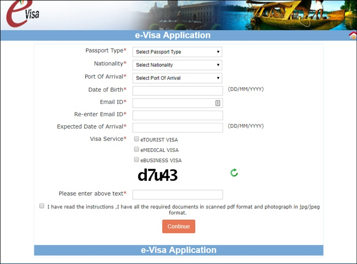 india evisa application