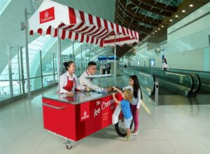 emirates airport free ice cream