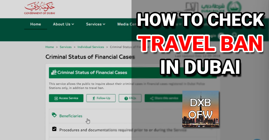 how to check travel ban financial case dubai