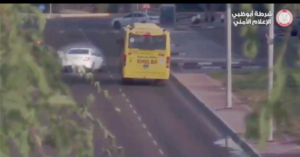 WATCH: Reckless Driver Almost Smash into School Bus in Abu Dhabi