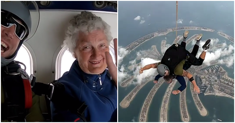 WATCH 82-year-old Woman Goes Skydiving over The Palm