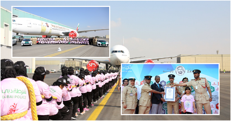 Dubai Police Sets New Record for Hauling Airliner for 100 Metres