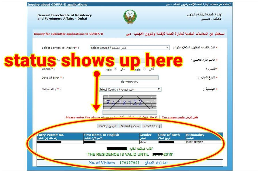 how to check uae visa status