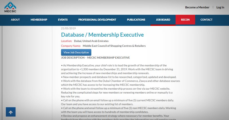 Database Membership Executive hiring
