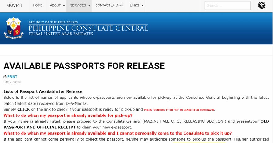 available ph passports for release uae