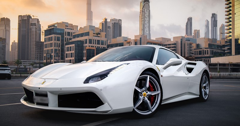 white ferrari sports car uae