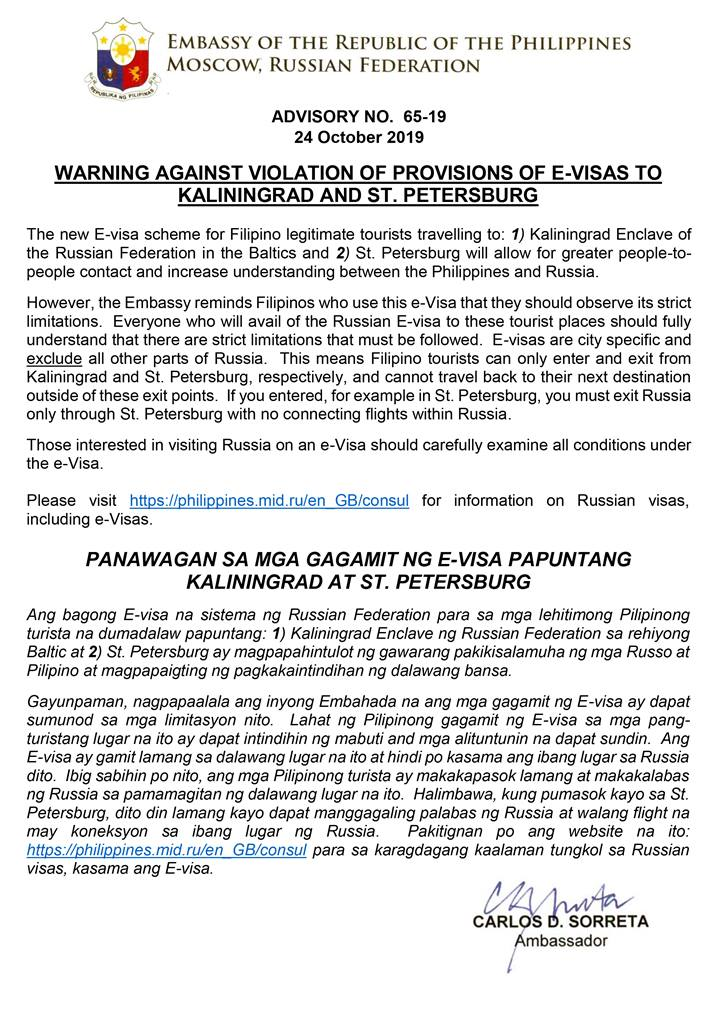 Russian EVisa warning to Pinoy tourists