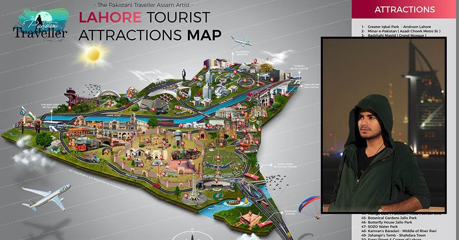 lahore pakistan tourist attraction map