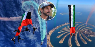 worlds largest flag held while skydiving dubai