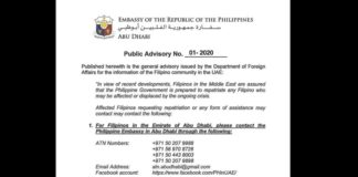 public advisory philippines crisis in middle east