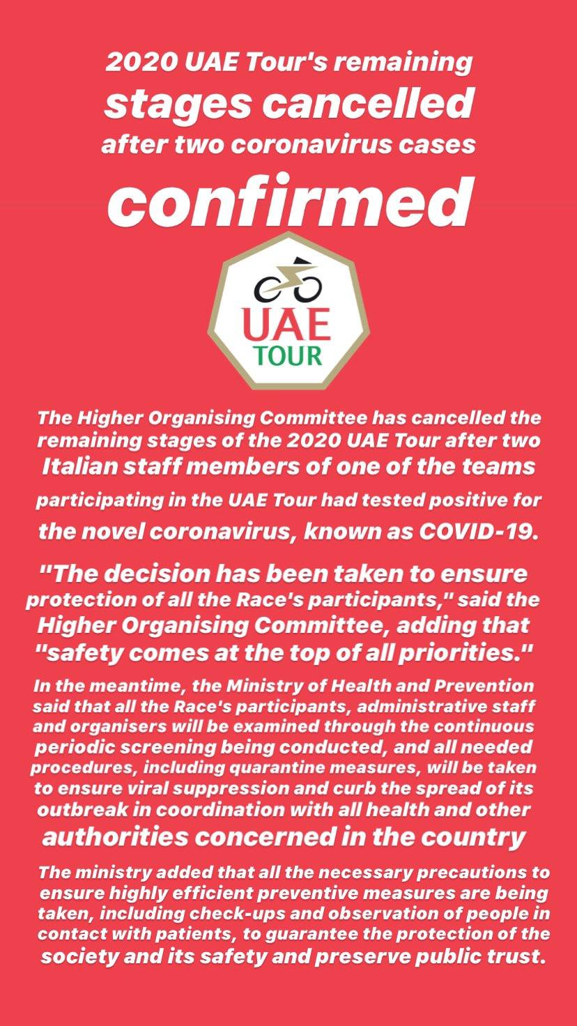 UAE tour cancelled coronavirus