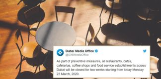 Dubai Municipality Announces Closure of All Restaurants, Cafes