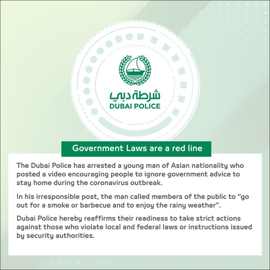 dubai police arrest asian man stay home rule