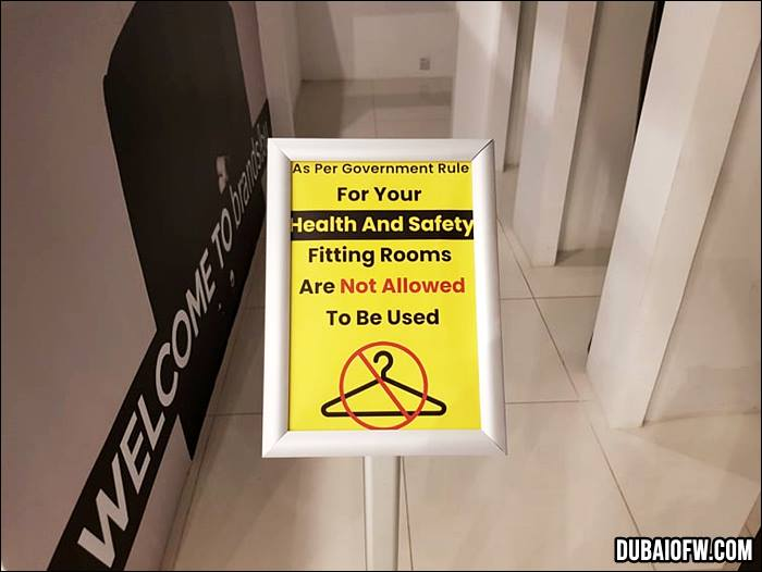Fitting rooms are not allowed to be used.
