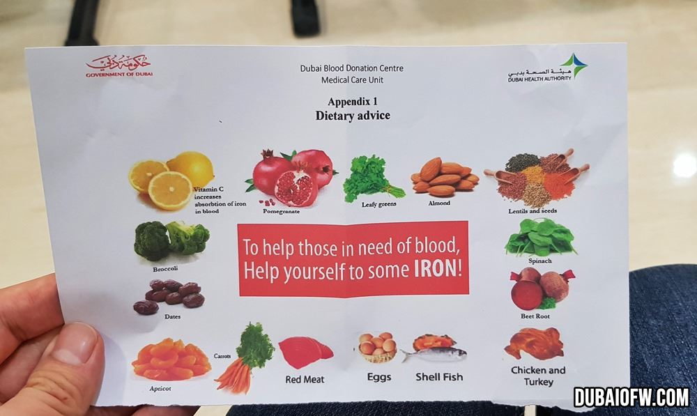 iron rich food to donate blood