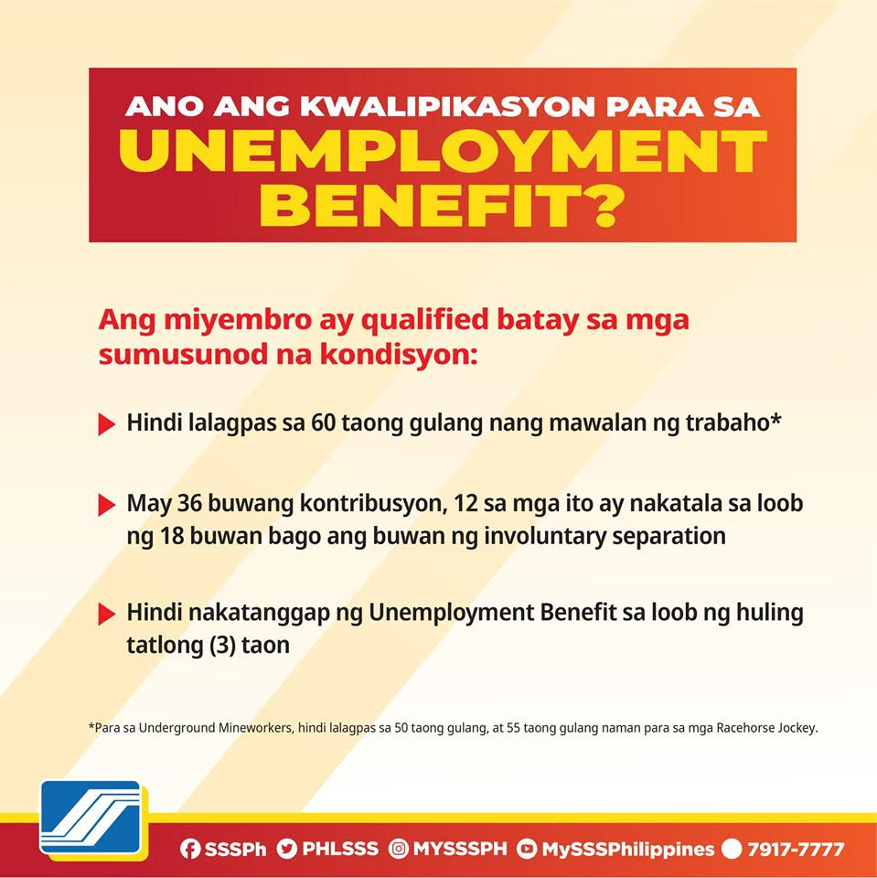 sss unemployment benefit qualifications