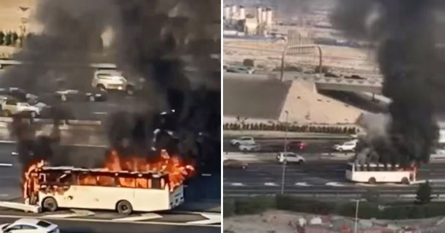 bus fire on road