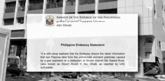 Two Filipinos Among Casualties in Gas Leak Accident in Abu Dhabi - Philippine Embassy