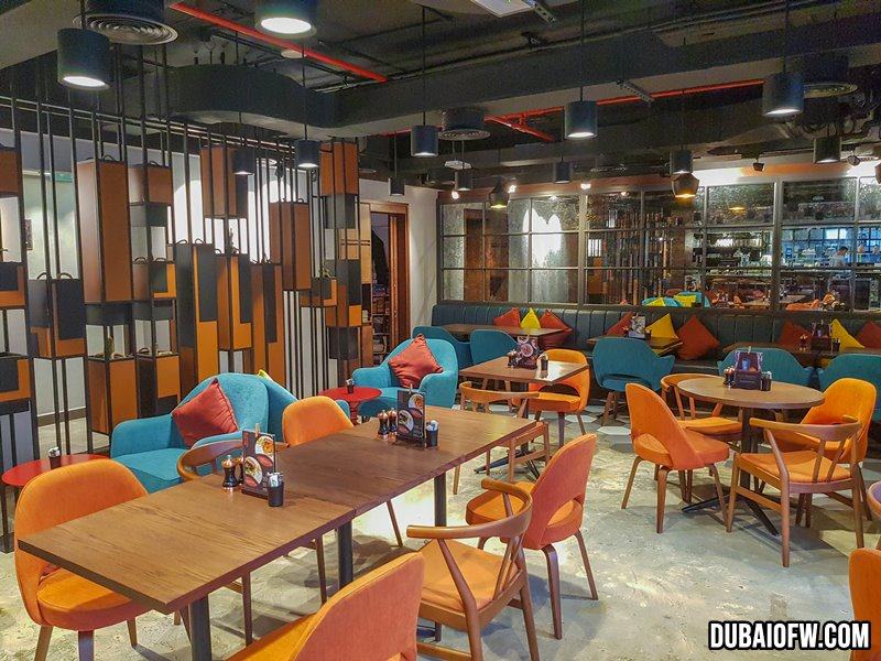 colorful interior at Q6 restaurant