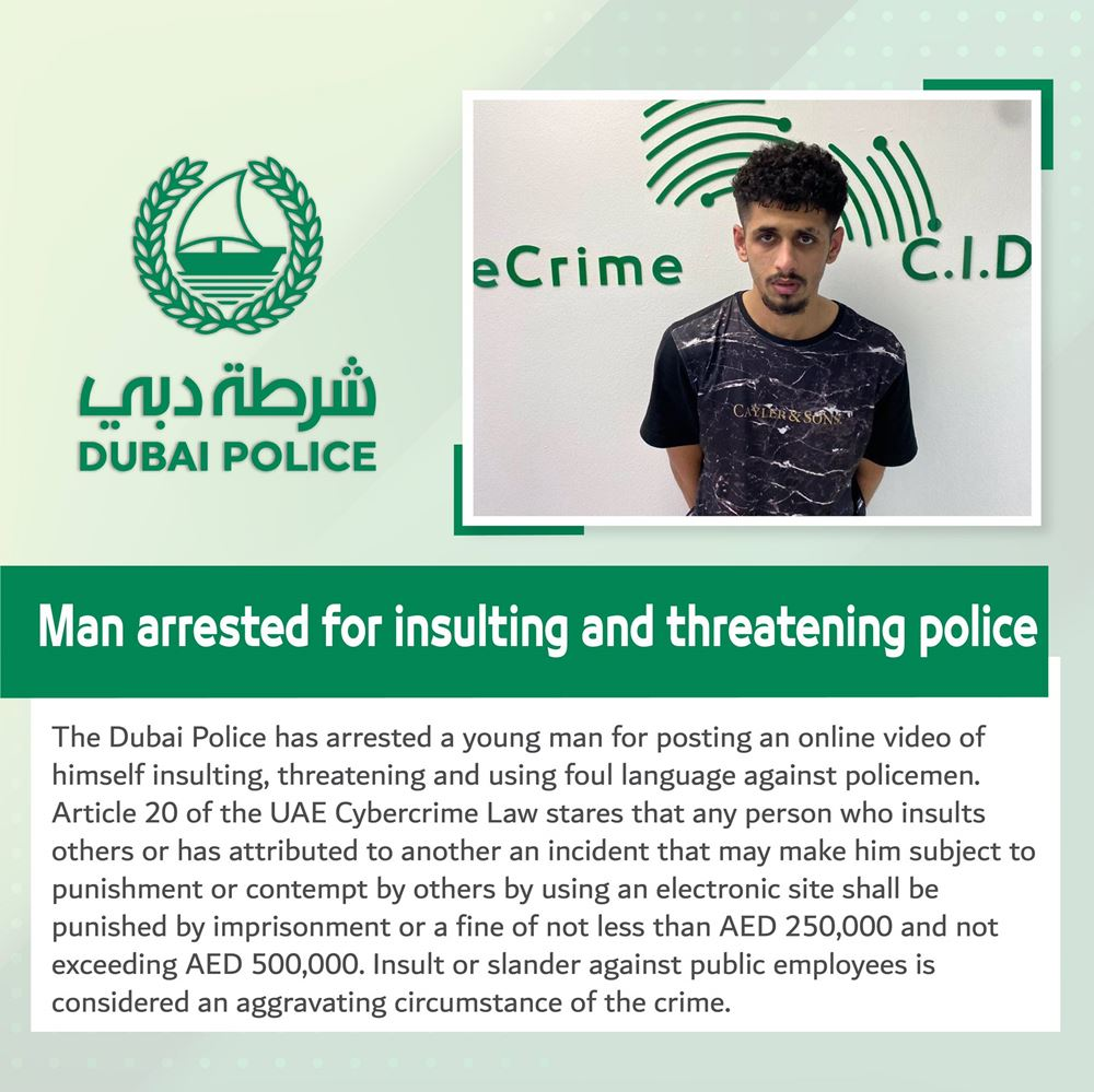 man arrested for insulting dubai police