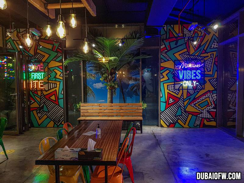 colorful and funky Spice Grill interior