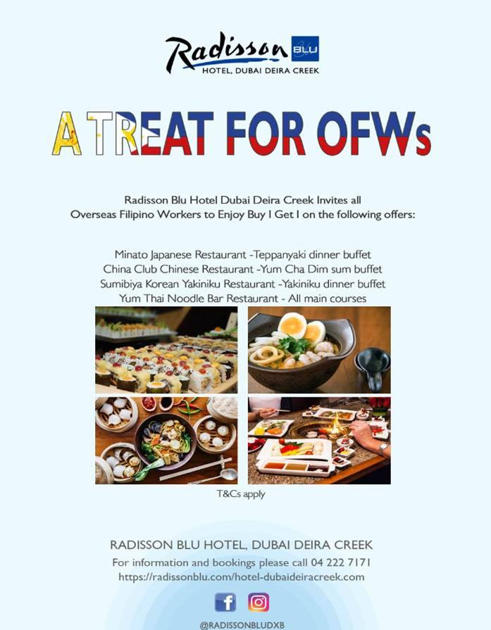 treat for OFWs radisson blu dubai deira creek