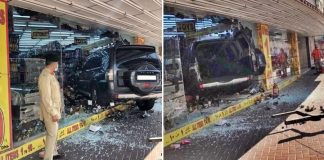 dubai vehicle crash into store