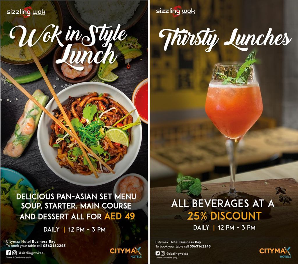 sizzling wok business bay lunch offers