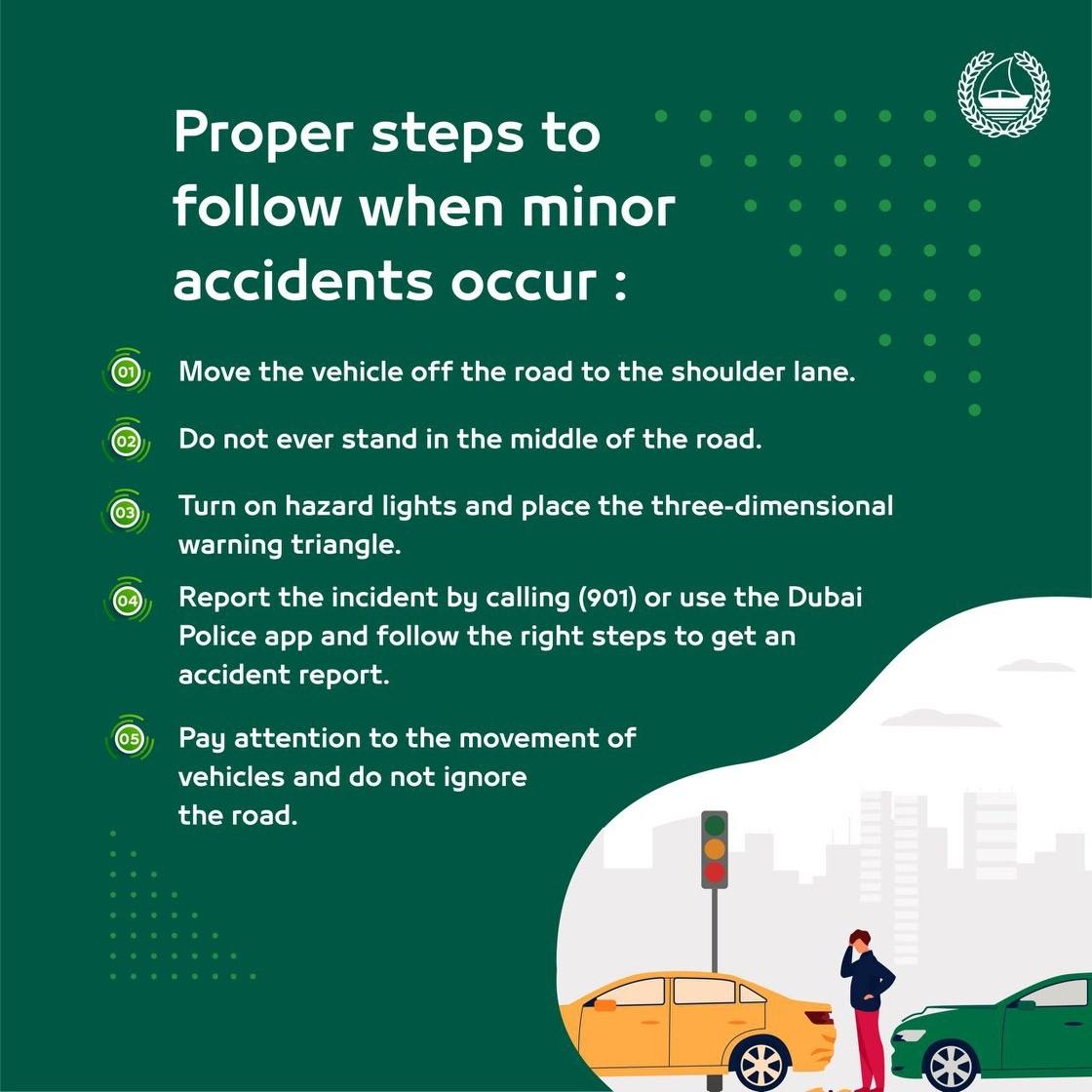steps during minor car accidents in dubai