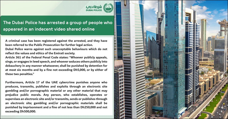 Dubai Police Arrests Group of People Involved in Indecent Video Circulating Online